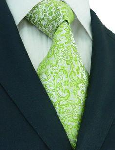 Amazon.com: New Men's Paisley Green Super Long 100% Silk Tie 593: Clothing