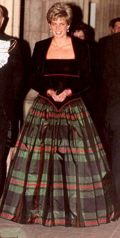 Catherine Walker tartan ball gown, worn by Diana, Princess of Wales for Christmas at Balmoral, 1991
