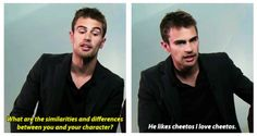 Theo James talks about differences between him and his character in Divergent, Four. Yep that's theo<3