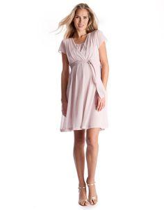 7a4f37c54ac Babies birthday dress! Blush Pink Pleated Maternity  amp  Nursing Dress