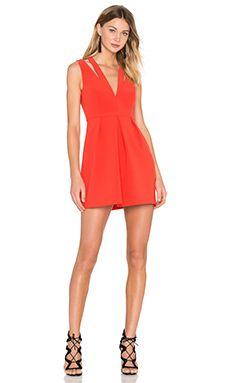 BCBGMAXAZRIA Clarye Deep V Dress in Bright Poppy