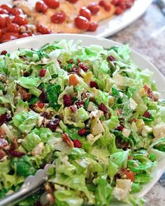 Chopped Salad. Pears, cranberries, pecans, bacon and feta cheese.