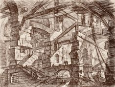 The Prisons: A Perspective of Colonnades with Zig-Zag Staircase, Giovanni Battista Piranesi (Italian, Etching; The Cleveland Museum of. Modern Prints, Fine Art Prints, Canvas Prints, Vintage Wall Art, Vintage Walls, Second Avenue Subway, Renaissance, Italian Artist, Illustrations