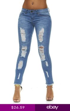 2523eb03287 VIP Ripped Distressed or Destroyed Frayed Hem Skinny Slim Fit Stretch Jeans