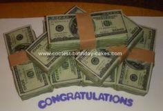 Homemade Money Cake: I made this homemade money cake for a graduate with an economics degree.  I made 7 bundles of money but you can make as many bundles as you wish.  Step