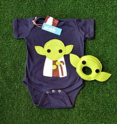 Sewing Wars - Baby Yoda Infant Bodysuit and Baby Rattle Combo