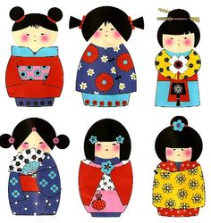 kokeshi gift wrap - japanese doll / traditional dress