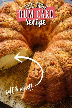 A deliciously moist cake drenched with rum, Rum Cake is a tender cake with great crumbs. Make it from scratch for a family get together, Christmas or holidays. Best Rum Cake Recipe, Best Cake Recipes, Dessert Recipes, Rum Rum, Good Rum, Tea Time Snacks, Food L, Cake Recipes From Scratch, Gingerbread Cake