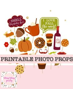 Printable Fall Photo Booth Props Fall Wedding Photobooth Props