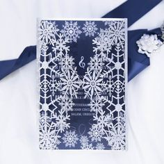 glittery silver and blue winter snowflake wedding invitations with pearl white buckles EWWS216 Wedding Invitation Message, Vintage Wedding Invitations, Printable Wedding Invitations, Wedding Invitation Design, Wedding Stationery, Invite, Snowflake Invitations, Glitter Invitations, Online Invitations