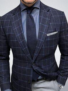 Handsome fold-over collar blue long-sleeved pocket blazer Product ID brand name carbonhot gender male. Gentleman Mode, Gentleman Style, Gentleman Fashion, Dapper Gentleman, Marcelo Mello, Moda Formal, Mens Fashion Suits, Fashion Top, Style Fashion