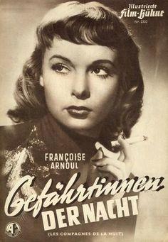 Francoise Arnoul in LES COMPAGNES DE LA NUIT Francoise Arnoul, Movie Posters, Movies, Cover Pages, Night, Films, Film Poster, Cinema, Movie