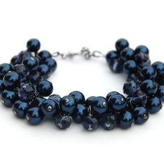 Midnight Blue Sparkling Pearl Cluster Bracelet
