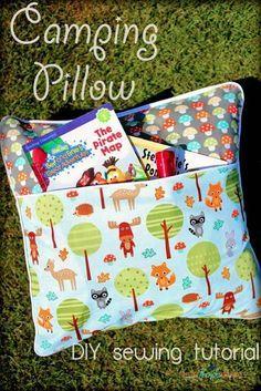 She's {kinda} Crafty: Camping Pillow Tutorial | Ann Kelle Fabrics