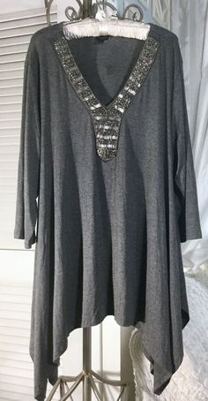 cb12ecf8b56 NEW Plus Size 3X 2X Gray Trapeze Silver Bead Tunic Top Blouse  fashion   clothing  shoes  accessories  womensclothing  tops (ebay link)
