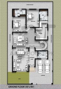 Home Design Plans, Plan Design, Design Show, Architecture Plan, Small Rooms, Ground Floor, Baths, Building A House, House Plans