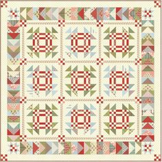 """Snow Goose Quilt - Follow the flight of geese as they go south for the winter at the first sign of snow. Designed by Miss Rosie's Quilt Co., in Snowfall fabrics by Moda.  75"""" x 75"""""""