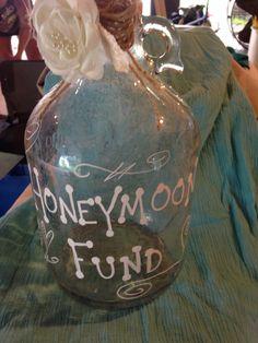 Honeymoon fund old jar hand painted. Country/ rustic wedding