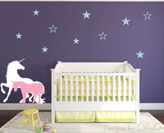 ♥♥♥♥ Included ♥♥♥♥ 1 Unicorn - tall by wide 1 Baby Unicorn - tall by wide 10 Stars Directions for applying your decals ♥♥♥♥ Colors ♥♥♥♥♥ In the 'message to seller' section at checkout Unicorn Wall Decal, Baby Room Wall Decals, Unicorn Bed Set, Baby Unicorn, Unicorn Land, Room Themes, Nursery Themes, Nursery Ideas, Nursery Decor