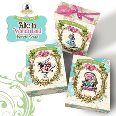 Alice in Wonderland Favor Box - Printable Treat Box - Alice in Wonderland Box - Instant Download - 03 Decorated Boxes - Alice in Wonderland de LythiumArt en Etsy