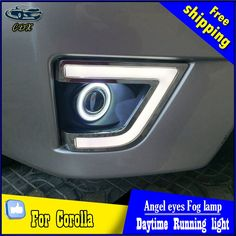 Auto rear bumper protector trim interior and exterior for toyota cdx car styling angel eyes fog light for toyota corolla led turn signal yellow drl angel eyes fog lamp accessories fandeluxe Choice Image