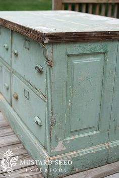 "how to seal a ""chippy"" painted piece for function ---matte finish top coat called Tough Coat  -- on blue counter/ chest with drawers"
