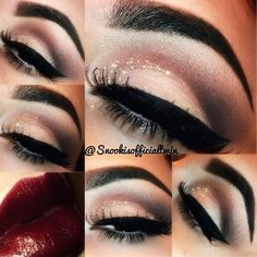 Classic wing eyeliner with dark red lips  #makeup #glitter #classy eyeshadow, lipstick