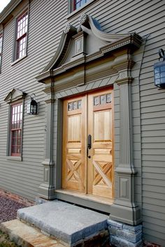 Grand entrance to a new Colonial in MA. Classic Colonial Homes.