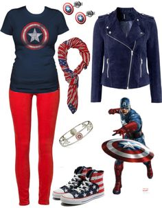"""""""The Patriot"""" by rockymtnrain on Polyvore This would be awesome for a superhero spirit day!"""