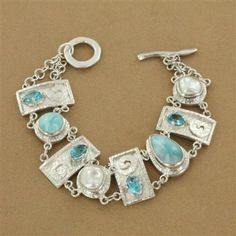 Mother's Day Gift: Sterling Silver Larimar, Pearl & Blue Topaz Eight Section Link Bracelet - Fire and Ice