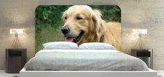You can finally own your own cuddly and endearing golden retriever with this custom headboard design. This shot of a smiling dog will make your day and night peaceful and happy. It's set against a backdrop of lush green trees for the perfect color combination.Model Size Material  Twin 42 x 36 inches Fabric  Double 54 x 36 inches Fabric  Queen 66 x 36 inches Fabric  King 78 x 36 inches Fabric