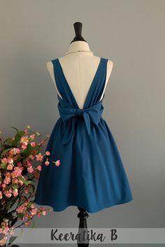 85a223379f2b Dark blue dress Midnight blue Bridesmaid dress Wedding Prom dress Cocktail  Party dress Evening dress Backless bow dress