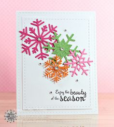 Snowflake card - Paper: SS White, New Leaf, Hibiscus Burst, Raspberry Fizz (PTI), Dies: Snowflakes and Stitched Mats: Rectangles (Lil. Homemade Christmas Cards, Christmas Cards To Make, Noel Christmas, Christmas Snowflakes, Christmas Paper, Xmas Cards, Homemade Cards, Handmade Christmas, Holiday Cards