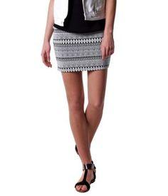 Straight-shape patterned skirt black print -94% Acrylic - 4% Pad - 2% El