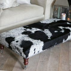 Cowhide Ottoman Coffee Table. Also With Straight Leg.   IDLIVING   The  Specialist In