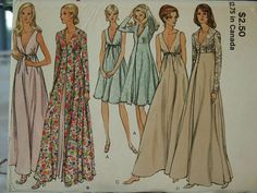 UNCUT Vintage 70's Vogue 8171 Elegant Gown & Robe Lingerie Night Gown Plunging Neckline Sewing Pattern Size 12 Bust 34