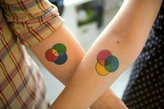 Additive and Subtractive Color Theory Matching Tattoos.