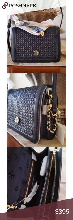"""TORY BURCH BRYANT BLACK QUILTED CROSSBODY Tory Burch  Bryant Crossbody  Black  • Leather Gold metal hardware  • Snap Closure • 2 comparments( Zip compartment and open compartment)  • 1 Interior zip pocket. • Leather shoulder strap about 9"""" drop.  • Height: 6"""" • Length: 8.5"""" • Width: 3"""" New with tags and never worn. Comes with dustbag. Authentic. NO TRADES. Tory Burch Bags Crossbody Bags"""