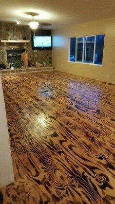 FLOORING made from SCORCHED PLYWOOD!!!  Love!!