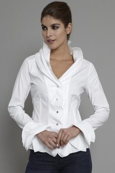 The Shirt Company   Women's Shirt and Blouse Frill Collar and Cuff White  The Shirt Company