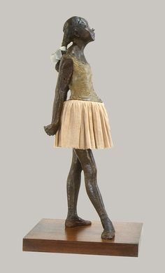 Degas' infamous ballerina sculpture...cast in 1922, modeled in 1879-1880. exhibited by Degas in the sixth Impressionist exhibition held in Paris in 1881, Petite danseuse de quatorze ans is believed to be Marie Van Goethem. is anyone reminded by Nabokov's Lolita?...cringe.