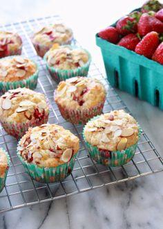 Strawberry Almond Muffins from www.thelandofmilkncookies.com