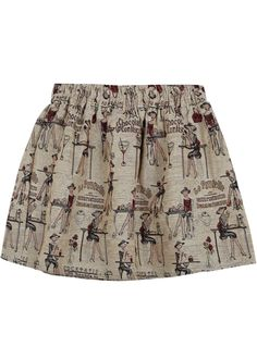 Falda+carácter+cintura+elástica-Kaki+EUR€15.44