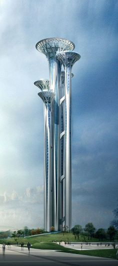 Olympic Park Observation Tower, Beijing, China designed by Shi Yingfang, Li Lei and Wen Yaling :: height [Futuristic Architecture Unusual Buildings, Interesting Buildings, Amazing Buildings, Modern Buildings, Office Buildings, Architecture Design, Futuristic Architecture, Beautiful Architecture, Futuristic City