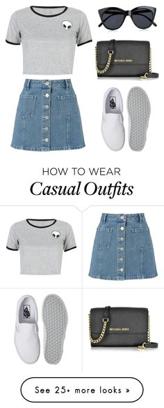 """Casual Dayz"" by bluexeyecandy on Polyvore featuring Miss Selfridge, WithChic, Vans, Le Specs and Michael Kors"