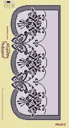 Filet Crochet, Crochet Patterns Filet, Crochet Curtain Pattern, Crochet Curtains, Crochet Borders, Crochet Diagram, Crochet Art, Doily Patterns, Thread Crochet