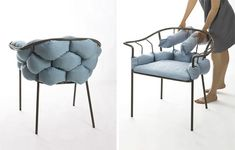 """Serpentine by Éléonore Nalet - Design Milk - Might be fun to try making these """"pillow noodles"""" to use on existed open-backed outdoor furnitu - Diy Furniture Chair, Used Outdoor Furniture, Home Furniture, Furniture Design, Wooden Furniture, Antique Furniture, Furniture Stores, Room Interior, Interior Design Living Room"""