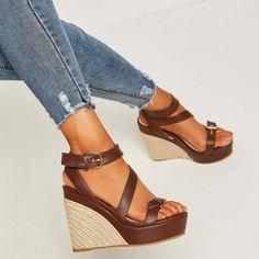 d31713c1e2e Shoespie Platform Hasp Open Toe Wedge Sandals Sweater Fashion