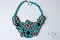 Soutache necklace with turquoise and onix