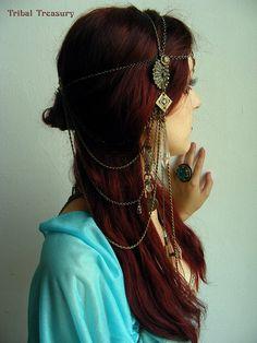 Mucha inspired Art Nouveau Chain Headdress by TribalTreasury